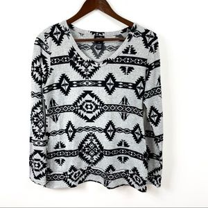 rue21 Aztec Print Gray and Black T-shirt
